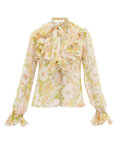 Zimmermann - Super Eight Ruffled Pussy Bow Silk Blouse - Womens - Pink Multi