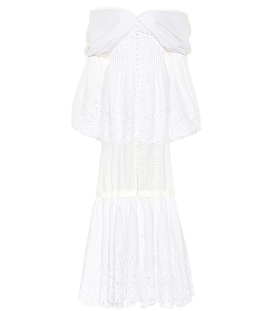 Jonathan Simkhai Lace-trimmed poplin gown in white