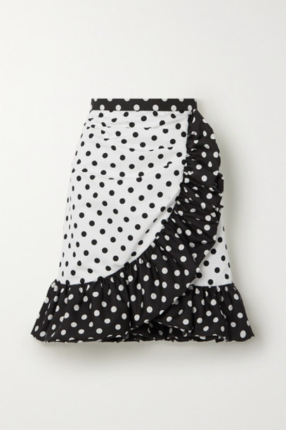 Rodarte - Ruffled Polka-dot Twill Mini Skirt - White