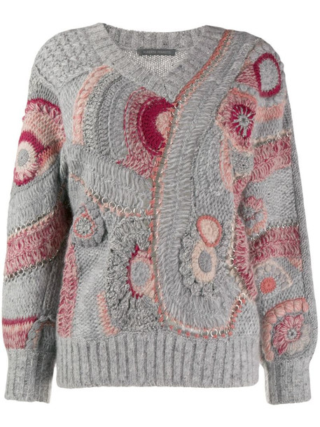 Alberta Ferretti Eyelet patterned knit jumper in grey