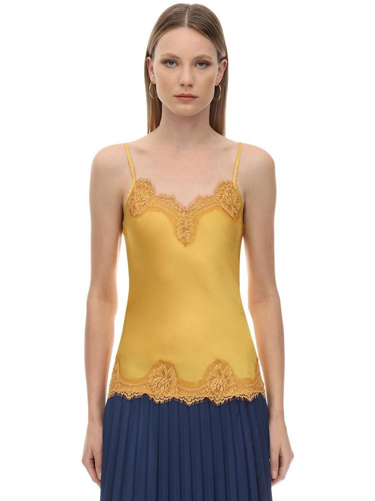 PINK MEMORIES Viscose Satin & Lace Top in yellow