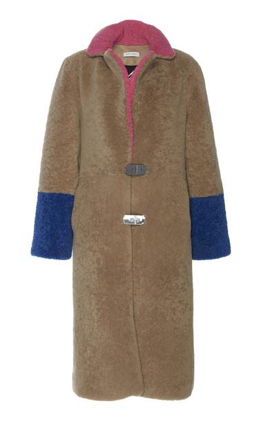 Saks Potts Febbe Colorblock Shearling Coat Size: 1 in multi