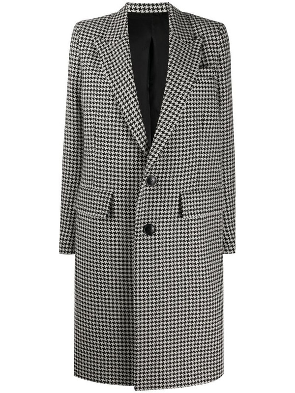AMI Paris single-breasted houndstooth coat in black