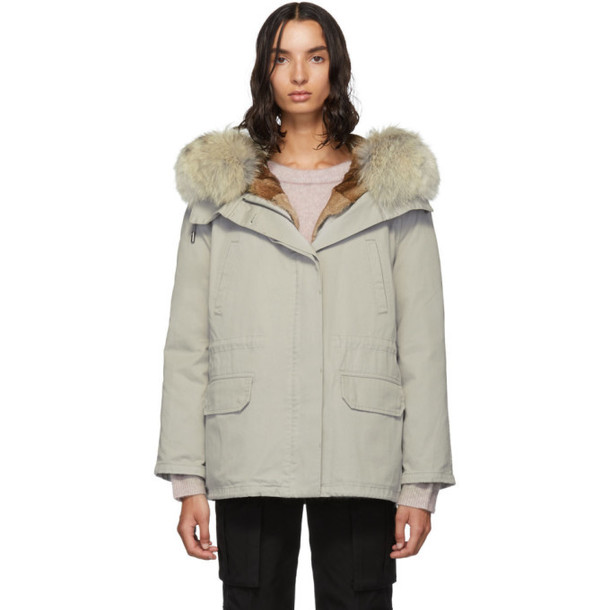 Yves Salomon - Army Grey Down and Fur Cotton Short Parka