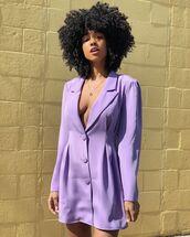 jacket,blazer dress,purple dress,long sleeve dress
