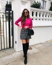 sweater,pink sweater,over the knee boots,black boots,plaid skirt,mini skirt,wrap skirt,black bag,handbag