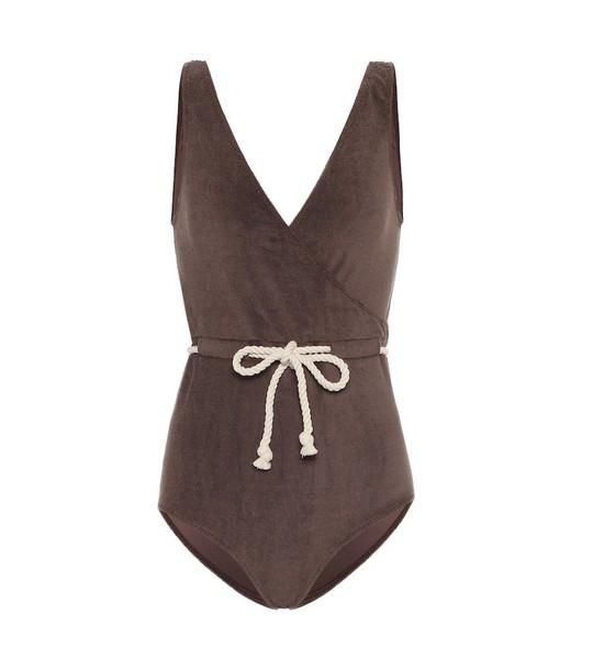 Lisa Marie Fernandez Yasmin terrycloth swimsuit in brown