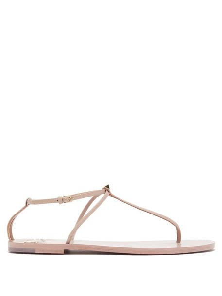 Valentino - Rockstud Flat Leather Sandals - Womens - Nude