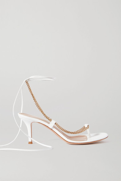 Gianvito Rossi - 70 Chain-embellished Leather Sandals - White