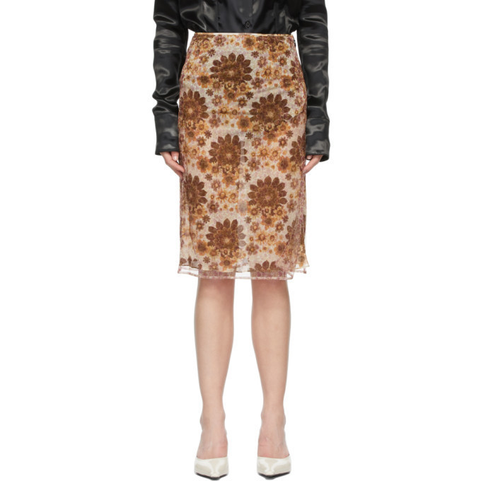 Kwaidan Editions Multicolor Floral Skirt in brown