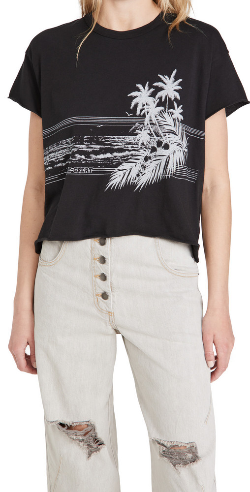 THE GREAT. THE GREAT. The Crop Tee with Shoreline Graphic
