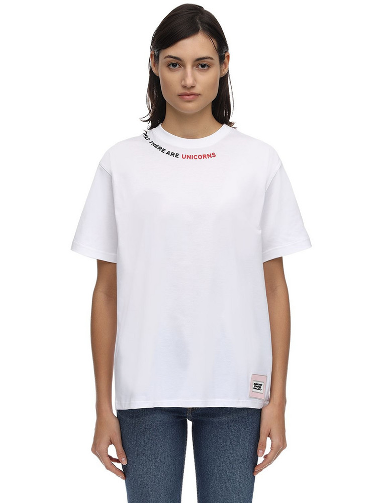 BURBERRY Oversized Jersey T-shirt W/ Print Detail in white