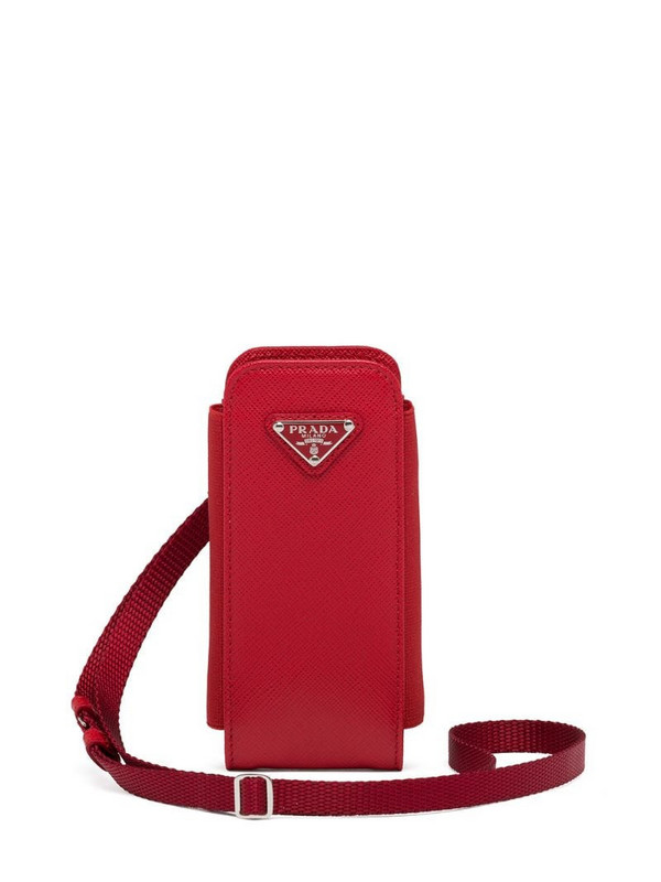 Prada triangle logo strap phone pouch in red