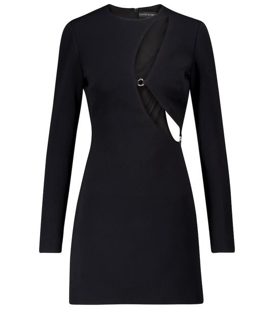 David Koma Cut-out cady minidress in black