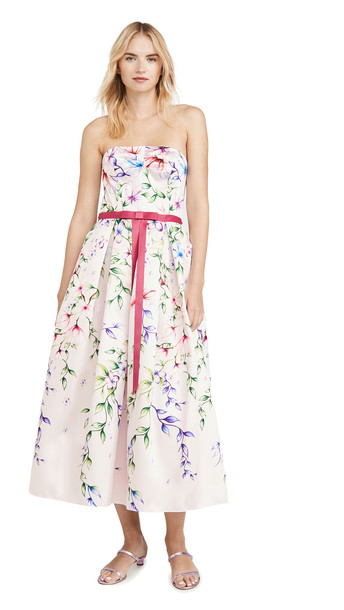 Marchesa Notte Strapless Printed Mikado Corseted Gown in blush