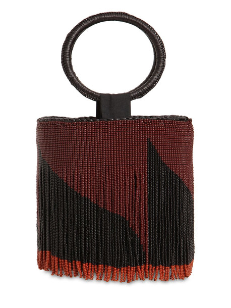 SENSI STUDIO Mini Bucket Bag W/ Beaded Fringes in black / chocolate