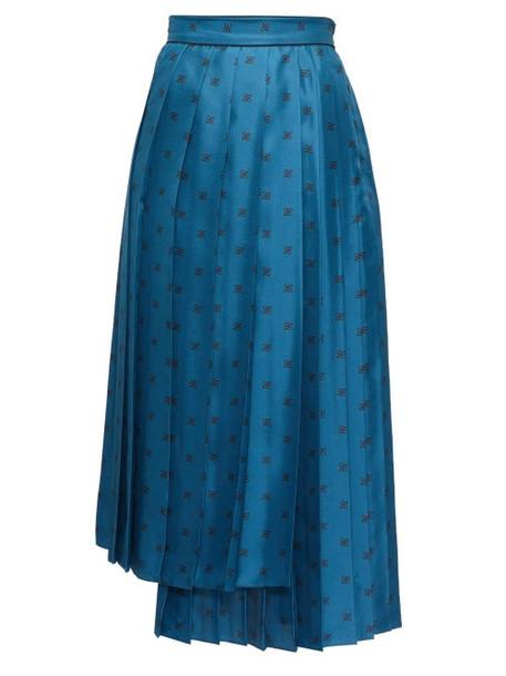 Fendi - Karligraphy Logo-jacquard Pleated Satin Skirt - Womens - Blue Multi