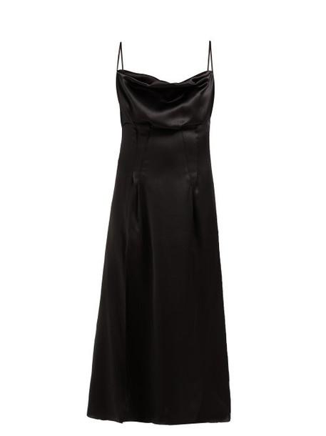 Versace - Cowl Neck Silk Satin Slip Dress - Womens - Black