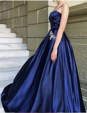dress,a-line straight across spaghetti strap navy prom dress
