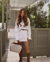 bag,leather bag,brown bag,cowboy boots,white dress,shirt dress,belt