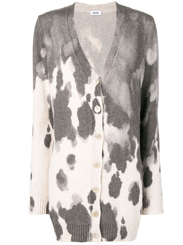 Moschino Pre-Owned 1990's patterned cardigan in grey