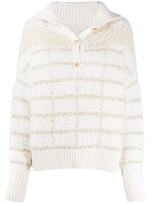 Max & Moi Pearce check sweater in white