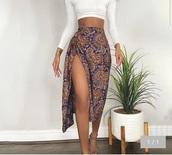 skirt,floral,asymmetrical skirt,long,purple