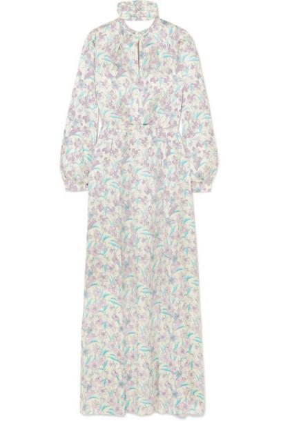 Raquel Diniz - Allegra Floral-print Silk-satin Maxi Dress - Purple