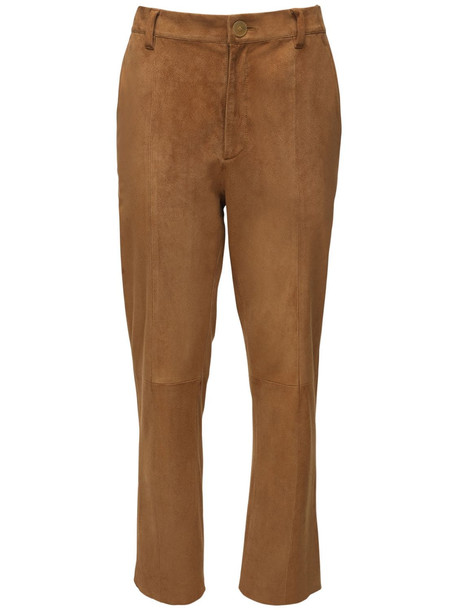 FORTE FORTE Suede Straight Leg Pants in brown