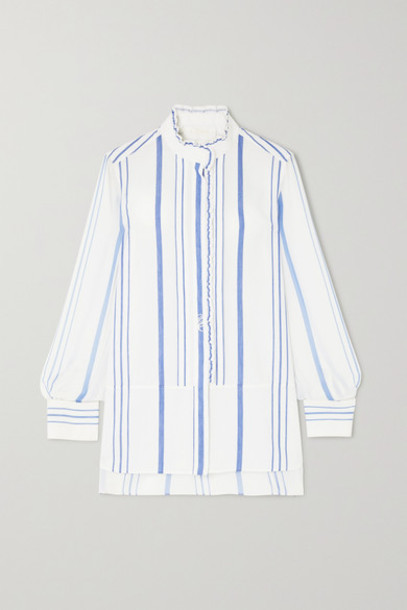 Chloé Chloé - Embroidered Striped Cotton-twill And Georgette Shirt - White