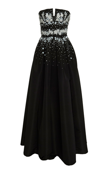 Carolina Herrera Pleated Sequin-Embellished Satin Gown in black