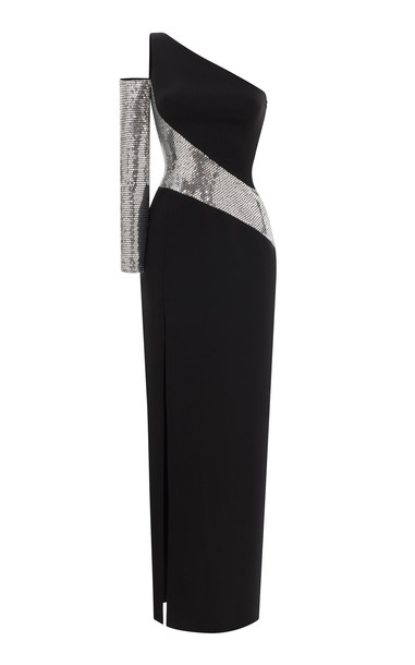 Rasario Asymmetric Sequin-Embellished Crepe Gown Size: 42 in black