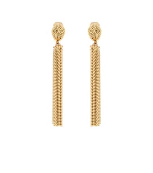 Oscar de la Renta Tassel clip-on earrings in gold