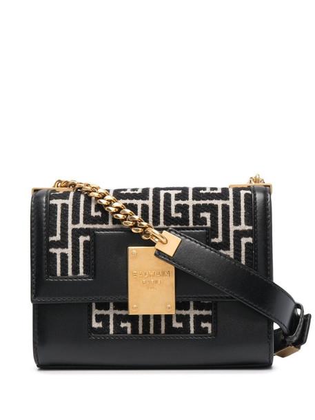 Balmain motif-print shoulder bag - Black