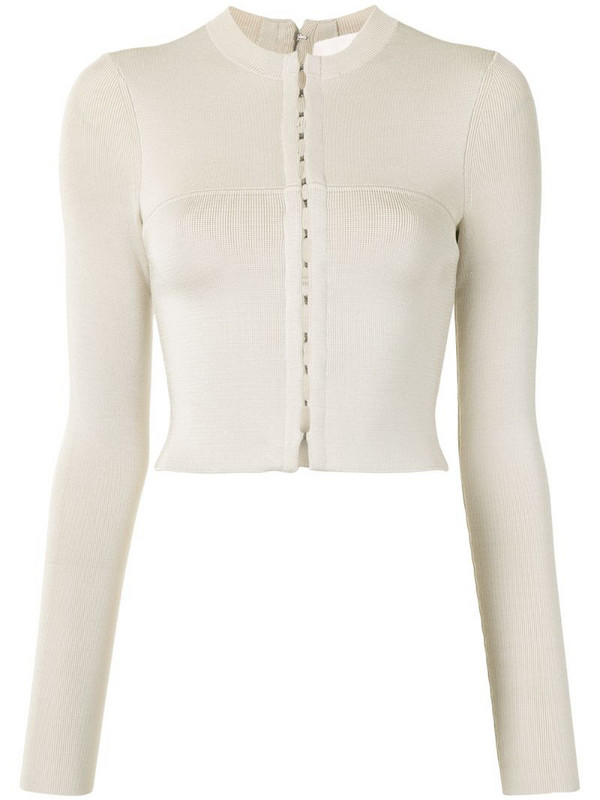 Dion Lee cropped hook-and-eye cardigan in neutrals