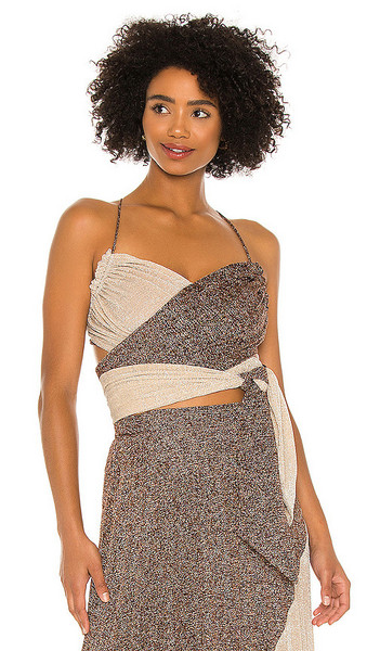 Suboo Tyra Pleat Wrap Top in Brown in copper / silver