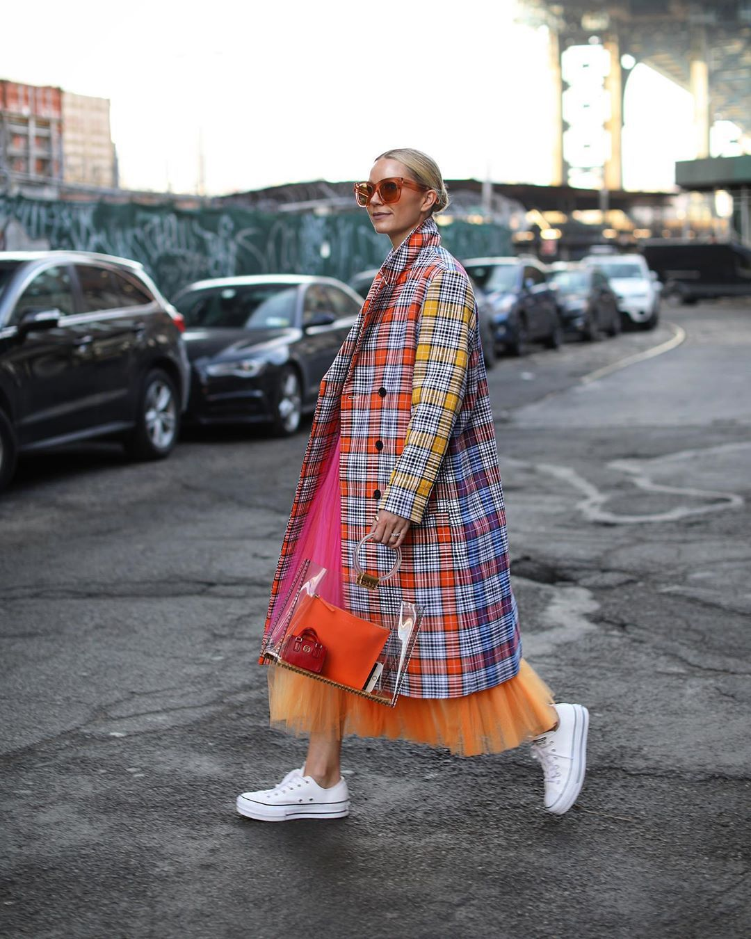 coat long coat double breasted multicolor white sneakers converse tulle skirt maxi skirt pvc handbag