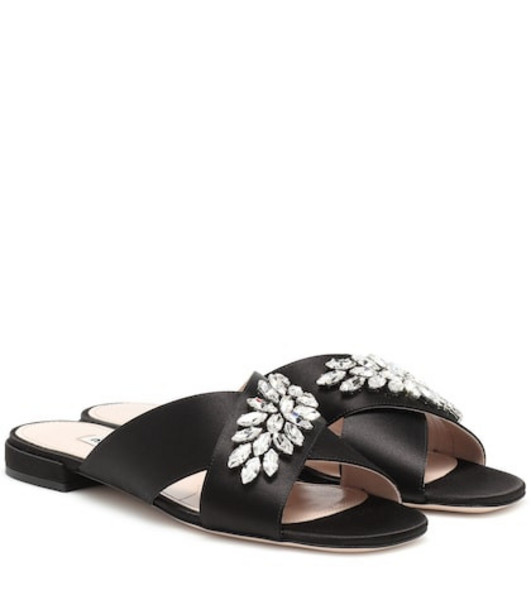 Miu Miu Embellished satin sandals in black