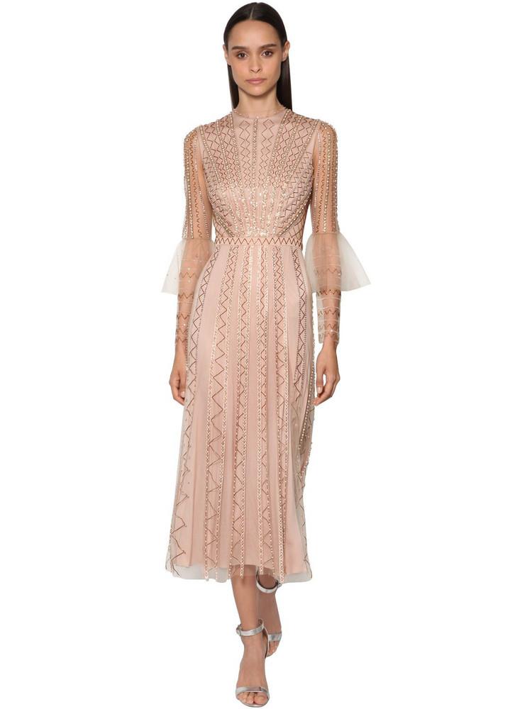 TEMPERLEY LONDON Bead & Sequin Embellished Tulle Dress in beige