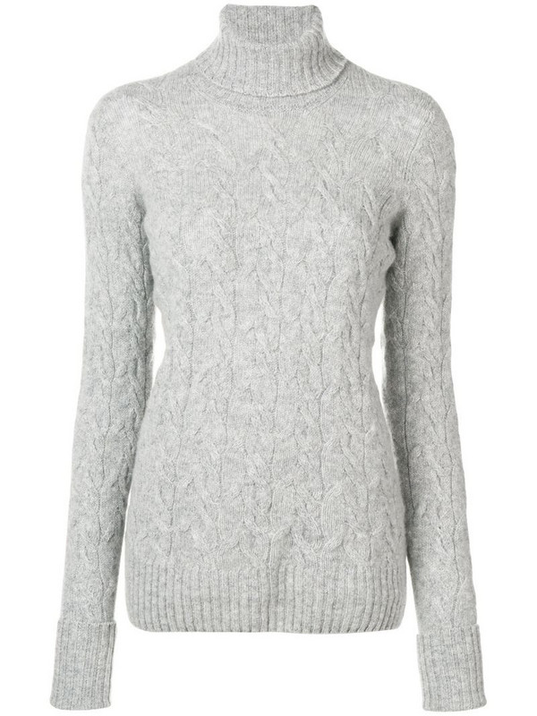 Drumohr cable knit turtle neck sweater in grey