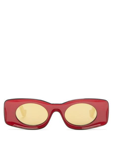 Loewe Paula's Ibiza - Rectangular Oval Acetate Sunglasses - Womens - Red