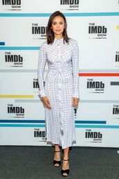 dress,celebrity,midi dress,plaid,nina dobrev,shirt dress,fall dress