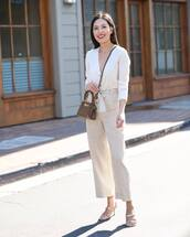 pants,striped pants,high waisted pants,wide-leg pants,sandals,brown bag,white cardigan