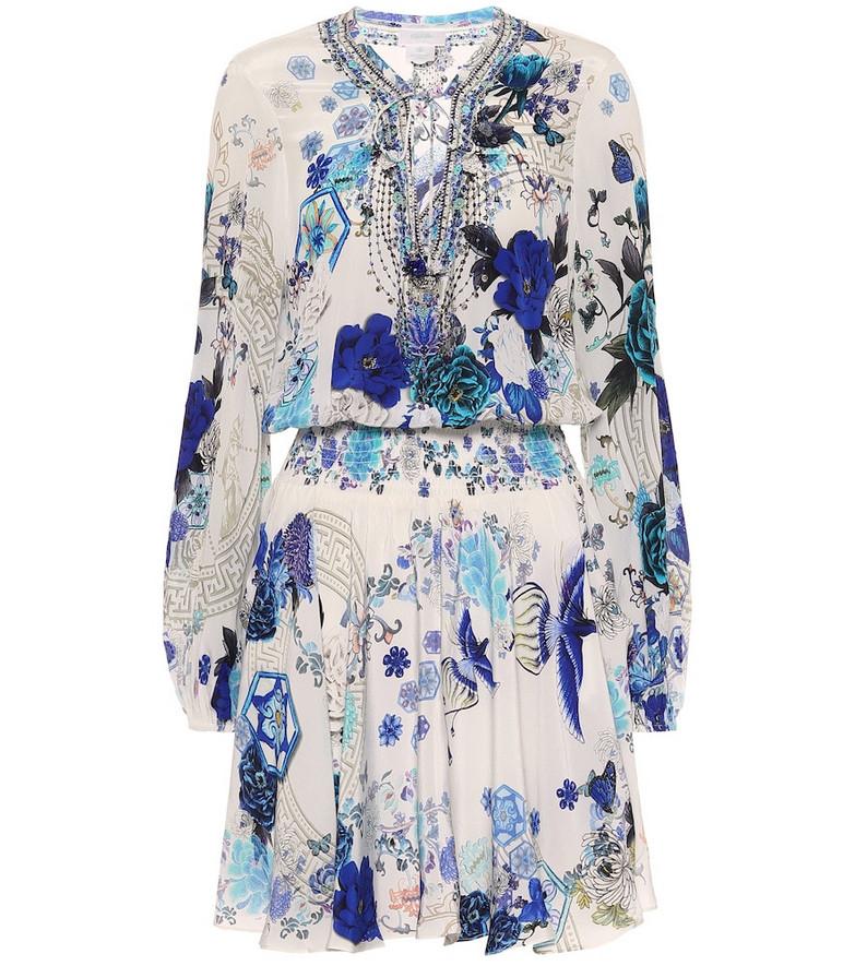 Camilla Embellished silk dress in blue