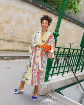 dress,midi dress,floral dress,sandal heels,kimono,bag