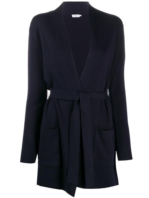 Filippa K two-pocket belted cardi-coat in blue