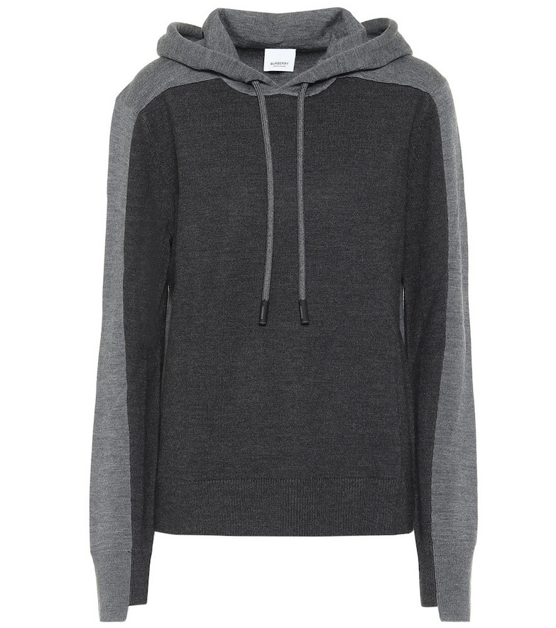 Burberry Merino wool-blend hoodie in grey
