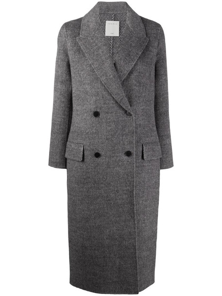 Sandro Paris double-breasted midi coat in grey