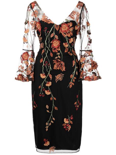 Marchesa Notte floral embroidered V-neck dress - Black