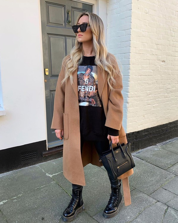 coat long coat black boots black leggings black bag sweatshirt